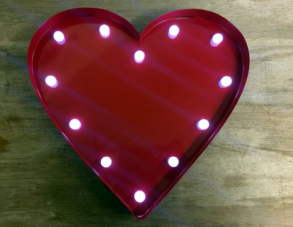Red Metal Heart Circus Wall Light with LED's